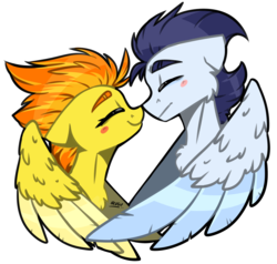 Size: 2630x2500 | Tagged: safe, artist:lrusu, soarin', spitfire, pegasus, pony, blushing, boop, bust, cute, cutefire, eyes closed, female, floppy ears, hug, male, mare, mutual booping, noseboop, shipping, simple background, soarinfire, stallion, straight, transparent background, winghug