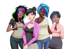Size: 1500x1045 | Tagged: safe, alternate version, artist:emberfan11, dj pon-3, octavia melody, vinyl scratch, oc, oc:nuance harmoney, oc:sawtooth vibe, human, icey-verse, alternate hairstyle, bowtie, bra, breasts, cardigan, clothes, commission, dark skin, ear piercing, earring, family, female, glasses, hair bun, headphones, humanized, jacket, jeans, jewelry, leather jacket, lesbian, lidded eyes, lipstick, magical lesbian spawn, next generation, offspring, pants, parent:octavia melody, parent:vinyl scratch, parents:scratchtavia, piercing, ring, scratchtavia, shipping, shirt, simple background, skirt, t-shirt, tanktop, transparent background, underwear, wall of tags, watch, wedding ring