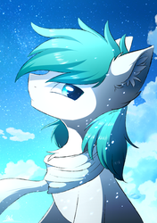Size: 1200x1700 | Tagged: safe, artist:morningbullet, oc, oc only, oc:diamond frost, chest fluff, clothes, ear fluff, looking at you, male, scarf, snow, solo, stallion