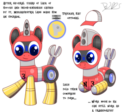 Size: 2024x1840 | Tagged: safe, artist:trackheadtherobopony, oc, oc only, oc:trackhead, original species, pony, robot, robot pony, wheelpone, logo, reference sheet, signature, simple background, solo, text, transformation, transparent background, trucker hat