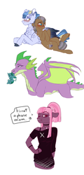 Size: 1735x3600 | Tagged: safe, artist:anyatrix, spike, oc, oc:fog frost, oc:moonstone, oc:rock sulphate, oc:shortcake, anthro, dracony, earth pony, hybrid, pegasus, pony, anthro with ponies, interspecies offspring, magical lesbian spawn, male, mouth hold, offspring, older, parent:cheese sandwich, parent:maud pie, parent:mud briar, parent:night glider, parent:pinkie pie, parent:princess luna, parent:spike, parents:cheesepie, parents:maudbriar, parents:nightdash, parents:spiluna, sketch, sketch dump, stallion, teary eyes