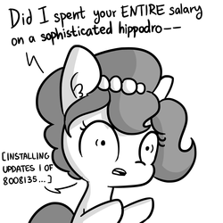 Size: 3000x3000 | Tagged: 5318008, absurd res, artist:dsp2003, artist:tjpones, comic, dialogue, ear fluff, earth pony, edit, english, female, grammar error, grayscale, horse wife, male, mare, monochrome, oc, oc:brownie bun, open mouth, pony, raised hoof, raised leg, robot, robot pony, safe, simple background, solo, white background