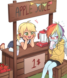 Size: 1200x1400 | Tagged: anime style, apple, appledash, applejack, apple juice, artist:dcon, blender (object), blushing, clothes, cup, cute, daaaaaaaaaaaw, dashabetes, dawwww, dcon is trying to murder us, equestria girls, feet, female, flip-flops, food, hnnng, human, humanized, jackabetes, juice, lesbian, no nose, overalls, precious, rainbow dash, safe, sandals, shipping, shorts, simple background, sweater, tsundere, weapons-grade cute, white background, winged humanization, wings, younger