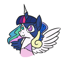 Size: 444x424 | Tagged: alicorn, alicorn tetrarchy, artist:jargon scott, female, frankenpony, mare, part of a set, pony, princess cadance, princess celestia, princess luna, safe, simple background, solo, stitches, twilight sparkle, twilight sparkle (alicorn), white background