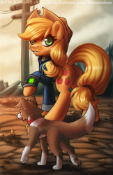 Size: 990x1530 | Tagged: applejack, artist:bumblebun, cowboy hat, crossover, dog, earth pony, fallout, freckles, hat, part of a set, pipboy, pony, power line, raised hoof, safe, solo, stetson, wasteland, winona