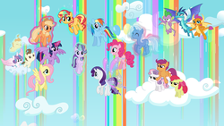 Size: 8000x4500 | Tagged: alicorn, apple bloom, applejack, artist:ambassad0r, artist:cheezedoodle96, artist:dragonm97hd, artist:mattbas, artist:osipush, artist:really-unimportant, artist:vectorshy, balloon, cake twins, cloud, cutie mark crusaders, dragon, dragoness, earth pony, female, filly, fluttershy, flying, foal, gossamer wings, levitation, magic, mane eight, mane seven, mane six, mare, pegasus, pinkie pie, pony, pound cake, princess ember, princess flurry heart, pumpkin cake, rainbow dash, rainbow waterfall, rarity, safe, scootaloo, scootaloo can't fly, self-levitation, smolder, spike, starlight glimmer, sunset shimmer, sweetie belle, telekinesis, trixie, twilight sparkle, twilight sparkle (alicorn), unicorn, winged spike