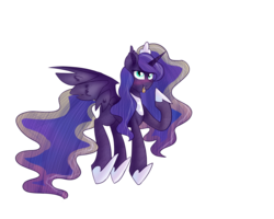 Size: 2500x2000 | Tagged: safe, artist:sodadoodle, princess luna, alicorn, bat pony, blushing, fangs, female, high res, looking at you, lunabat, mare, race swap, simple background, solo, starry eyes, tongue out, transparent background, wingding eyes