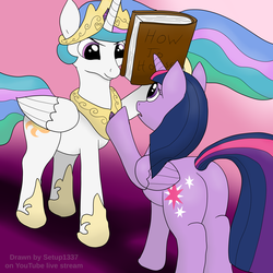 Size: 4096x4096 | Tagged: alicorn, artist:setup1337, book, duo, frown, looking at each other, plot, pony, princess celestia, raised hoof, safe, trollestia, twilight sparkle, twilight sparkle (alicorn)