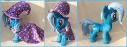Size: 1964x742 | Tagged: safe, artist:lilmoon, trixie, pony, cape, clothes, hat, irl, photo, plushie, solo, trixie's cape, trixie's hat