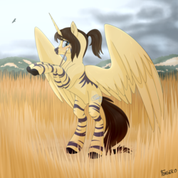 Size: 1280x1280 | Tagged: africa, alicorn, artist:f0rever13, commission, digital art, full body, looking at you, male, oc, oc:eternal light, oc only, paint, paintbrush, painting, rcf community, safe, savanna, solo, spreading, spread wings, stallion, wings, ych example, ych result, your character here, zebra, zebra alicorn