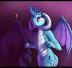 Size: 4968x4680 | Tagged: safe, artist:auroriia, princess ember, dragon, absurd resolution, bloodstone scepter, curved horn, dragon lord ember, dragoness, eyelashes, female, looking up, purple background, signature, simple background, solo, spread wings, staff, wings
