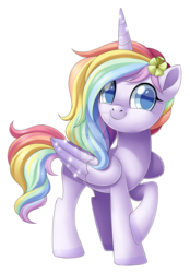 Size: 1024x1472 | Tagged: alicorn, alicorn oc, artist:centchi, female, flower, flower in hair, mare, obtrusive watermark, oc, oc:sweet dreams, pony, rainbow hair, raised hoof, safe, simple background, solo, transparent background