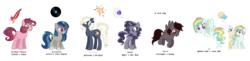 Size: 11119x2702 | Tagged: artist:thepegasisterpony, chest fluff, clothes, earth pony, female, magical lesbian spawn, mare, oc, oc:camlet, oc:daybreak sprinkle, oc:erebus, oc:misty rainbow, oc:noteworthy, oc only, oc:pixie core, oc:rj, offspring, parent:applejack, parent:fluttershy, parent:inky rose, parent:king sombra, parent:oc:silverlay, parent:octavia melody, parent:pinkie pie, parent:rainbow dash, parent:rarity, parents:canon x oc, parents:inkity, parents:scratchtavia, parents:silverjack, parents:sombrashy, parents:twinkie, parents:vapordash, parent:twilight sparkle, parent:vapor trail, parent:vinyl scratch, pegasus, pony, quasarverse, safe, scarf, simple background, transparent background, unicorn