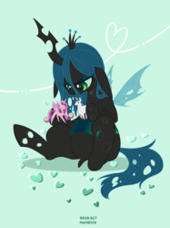 Size: 1256x1683 | Tagged: alicorn, artist:mamechi, changeling, doll, female, male, mare, princess cadance, queen chrysalis, safe, shining armor, simple background, sitting, smiling, solo, stallion, toy, unicorn