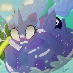 Size: 3500x3500 | Tagged: safe, artist:darkest-lunar-flower, princess luna, alicorn, pony, cute, female, inflatable, lunabetes, s1 luna, sliding, solo, sunscreen, swimming pool, water, water park, water slide, wet, wingding eyes, woona, younger