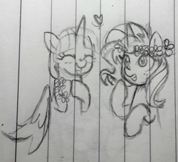 Size: 1016x925 | Tagged: safe, artist:chautung, sunset shimmer, twilight sparkle, alicorn, pony, unicorn, cute, eyes closed, female, floral head wreath, flower, heart, lesbian, lined paper, mare, pencil drawing, present, shimmerbetes, shipping, sunsetsparkle, tongue out, traditional art, twilight sparkle (alicorn)