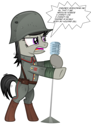 Size: 3530x4830 | Tagged: angry, artist:a4r91n, bandage, belt, bipedal, boots, epaulettes, german, kriegtavia, messy mane, metallica, microphone, military uniform, octavia melody, safe, shoes, simple background, song reference, stahlhelm, transparent background, vector, we are going to heil, world war i