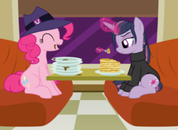Size: 2948x2146 | Tagged: safe, artist:badumsquish, derpibooru exclusive, mean twilight sparkle, pinkie pie, alicorn, earth pony, pony, the mean 6, the saddle row review, too many pinkie pies, :i, alternate hairstyle, clone, clothes, diner, disguise, duo, eating, female, food, fork, frown, happy, hat, levitation, magic, messy mane, messy tail, pancakes, pinkie clone, plate, ponytail, show accurate, smiling, story in the comments, sweater, table, talking, telekinesis, unamused