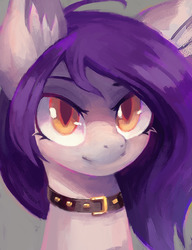Size: 996x1300 | Tagged: safe, artist:lonelycross, oc, oc only, oc:belle nuit, bat pony, pony, bat pony oc, bust, collar, female, looking up, mare, portrait, solo