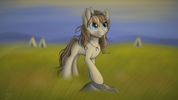 Size: 3840x2160 | Tagged: artist:cluvry, commission, female, grass field, long hair, mare, oc, oc only, pony, rock, safe, scenery, smiling, solo, tent