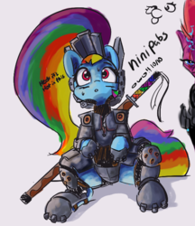Size: 611x708 | Tagged: safe, artist:greyscaleart, artist:pabbley, rainbow dash, tempest shadow, pegasus, pony, unicorn, :p, alternate hairstyle, armor, blushing, female, katana, mare, ponytail, silly, simple background, sweat, sweatdrop, sword, tongue out, weapon, white background