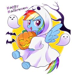 Size: 1400x1400 | Tagged: safe, artist:ryuu, rainbow dash, bat, ghost, pegasus, pony, blushing, clothes, costume, cute, dashabetes, female, ghost costume, halloween, halloween costume, happy halloween, holiday, jack-o-lantern, mare, open mouth, pumpkin, solo