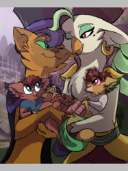 Size: 2048x2732 | Tagged: safe, artist:percy-mcmurphy, capper dapperpaws, captain celaeno, oc, abyssinian, anthro, hybrid, my little pony: the movie, beauty mark, caplaeno, clothes, couple, cute, ear piercing, earring, family, father, female, future, hat, interspecies offspring, jewelry, male, mother, next generation, nuzzling, offspring, one eye closed, parent:capper, parent:captain celaeno, parents:caplaeno, piercing, pirate hat, shipping, smiling, wink