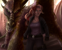 Size: 1280x1024 | Tagged: artist:comsing8, clothes, dragon, dragonified, female, human, humanized, jacket, ray, safe, serious, serious face, shirt, species swap, sunset shimmer