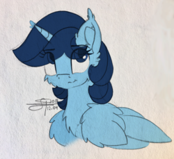 Size: 2107x1928 | Tagged: alicorn, alicorn oc, artist:airfly-pony2014, blue eyes, bust, fluffy, horn, large wings, long horn, looking up, oc, oc:airflight, portrait, safe, simple background, smiling, this character is not canon related, white background, wings