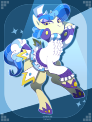 Size: 1300x1720 | Tagged: artist:mamechi, clothes, earth pony, female, hat, mare, pony, safe, sapphire shores, solo, top hat