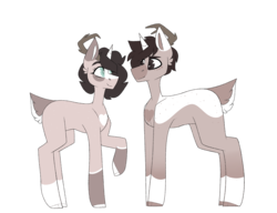 Size: 2274x1743 | Tagged: artist:m-miamo, deer pony, female, male, oc, oc only, original species, safe, simple background, transparent background
