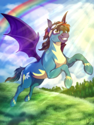 Size: 3000x4000 | Tagged: artist:lupiarts, bat pony, bat pony oc, clothes, commission, crepuscular rays, flying, goggles, grass field, oc, oc only, rainbow, safe, scenery, solo, tree