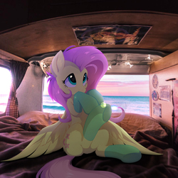 Size: 1080x1080 | Tagged: dead source, safe, artist:hioshiru, edit, fluttershy, pegasus, pony, bed, blanket, cheek fluff, clothes, covering mouth, curtains, cute, detailed background, ear fluff, female, fluffy, horizon, irl, leg fluff, license plate, looking up, mare, microbus, ocean, photo, photoshop, pillow, ponies in real life, poster, shoulder fluff, shyabetes, sign, sitting, smiling, socks, solo, spread wings, sweet dreams fuel, van, volkswagen, volkswagen transporter, volkswagen type 2, wallpaper, window, wings, wires