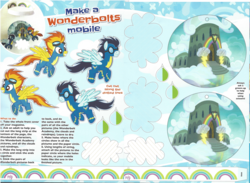 Size: 1605x1172 | Tagged: safe, soarin', spitfire, arts and crafts, clothes, craft, goggles, magazine scan, mobile, papercraft, uniform, wonderbolts uniform