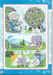 Size: 826x1169 | Tagged: artist needed, safe, fast clip, icy rain, manerick, rainbow dash, clothes, comic, dizzitron, goggles, magazine scan, super sub!, uniform, wonderbolts uniform