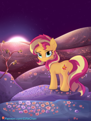 Size: 3000x4000 | Tagged: artist:katakiuchi4u, female, flower, hill, looking at you, mare, patreon, patreon logo, pony, safe, scenery, smiling, solo, sunset shimmer, unicorn