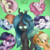 Size: 3000x3000 | Tagged: safe, artist:bronybehindthedoor, mean applejack, mean fluttershy, mean pinkie pie, mean rainbow dash, mean rarity, mean twilight sparkle, queen chrysalis, alicorn, changeling, changeling queen, earth pony, pegasus, unicorn, the mean 6, clone, clone six, cowboy hat, evil rainbow dash, evil smirk, female, hat, mare