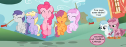 Size: 768x288 | Tagged: safe, edit, edited screencap, screencap, applecore, cotton cloudy, dinky hooves, pinkie pie, piña colada, ruby pinch, scootaloo, tornado bolt, a friend in deed, awwpplecore, cottonbetes, cropped, cute, cutealoo, dialogue, diapinkes, dinkabetes, jumprope, pinchybetes, piña cutelada, skipping rope, speech bubble, text, tornadorable