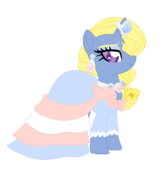 Size: 544x574 | Tagged: artist:lavender-doodles, clothes, crossdressing, dress, ear piercing, earring, frills, gem, gown, heart eyes, horn ring, jewelry, looking at you, makeup, oc, oc:azure/sapphire, oc only, piercing, safe, simple background, simple ways, solo, white background, wingding eyes
