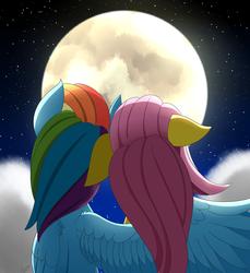 Size: 2750x3000 | Tagged: safe, artist:orangejuicerus, fluttershy, rainbow dash, pegasus, pony, cloud, female, flutterdash, full moon, hug, lesbian, moon, night, night sky, shipping, sky, stars, winghug