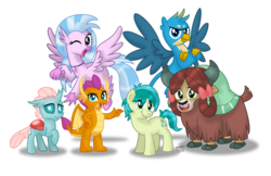 Size: 1600x1035   Tagged: safe, artist:aleximusprime, gallus, ocellus, sandbar, silverstream, smolder, yona, changedling, changeling, classical hippogriff, dragon, earth pony, griffon, hippogriff, pony, yak, school daze, season 8, spoiler:s08, collar, cute, diaocelles, diastreamies, dragoness, female, gallabetes, looking at you, one eye closed, sandabetes, simple background, smiling, smolderbetes, student six, transparent background, wink, yonadorable