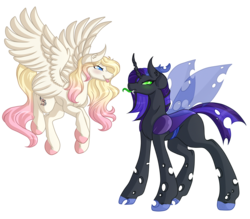 Size: 6000x5256 | Tagged: absurd res, artist:amazing-artsong, changeling, changeling oc, fangs, female, looking at each other, mare, oc, oc only, pegasus, pony, safe, simple background, tongue out, transparent background