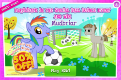 Size: 797x529   Tagged: safe, mudbriar, rainbow blaze, advertisement, ball, football, gameloft, official, play now, sports, unamused