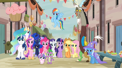 Size: 1920x1080 | Tagged: alicorn, applejack, discord, fluttershy, group photo, happy, looking at you, our town, pinkie pie, princess cadance, princess celestia, princess flurry heart, princess luna, rainbow dash, rarity, safe, screencap, shining armor, smiling, spike, to where and back again, trixie, twilight sparkle, twilight sparkle (alicorn)