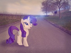 Size: 1280x960 | Tagged: artist needed, safe, rarity, horizon, irl, photo, photoshop, ponies in real life, road, sky
