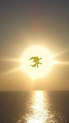 Size: 423x750   Tagged: artist needed, safe, fluttershy, against sun, flying, horizon, irl, ocean, photo, sun, sunrise