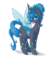 Size: 2074x2304 | Tagged: artist:dsp2003, blep, blushing, changeling, changeling queen, changeling queen oc, commission, cute, female, looking at you, mare, oc, oc:queen polistae, pony, safe, silly, silly pony, simple background, solo, tongue out, transparent background