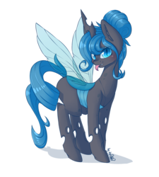 Size: 2074x2304 | Tagged: alternate version, artist:dsp2003, blep, blushing, changeling, changeling queen, changeling queen oc, commission, cute, female, looking at you, mare, oc, oc:queen polistae, pony, safe, silly, silly pony, simple background, solo, tongue out, transparent background