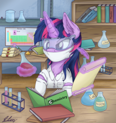 Size: 1800x1900 | Tagged: artist:check3256, chemicals, clothes, female, flask, glowing horn, goggles, lab coat, laboratory, magic, mare, periodic table, pony, safe, telekinesis, twilight sparkle