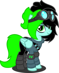 Size: 1280x1595 | Tagged: artist:fletcherthehuntress, clothes, female, goggles, mare, oc, oc:madison, pegasus, pony, safe, simple background, solo, transparent background